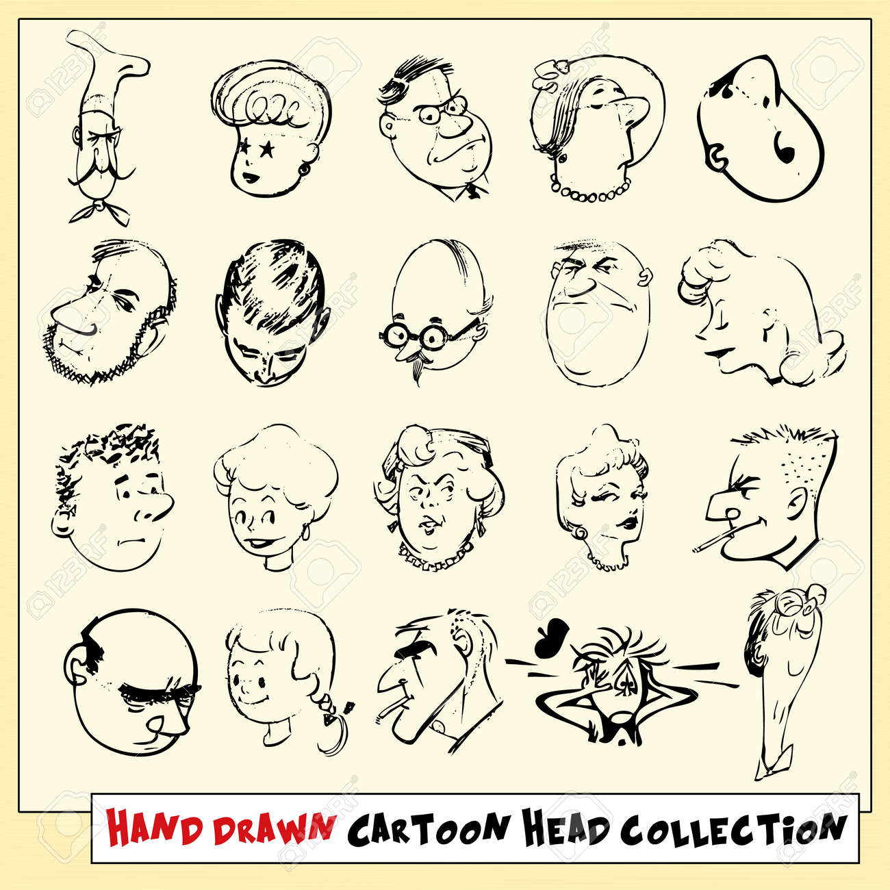 collection of twenty hand drawn cartoon heads in black isolated