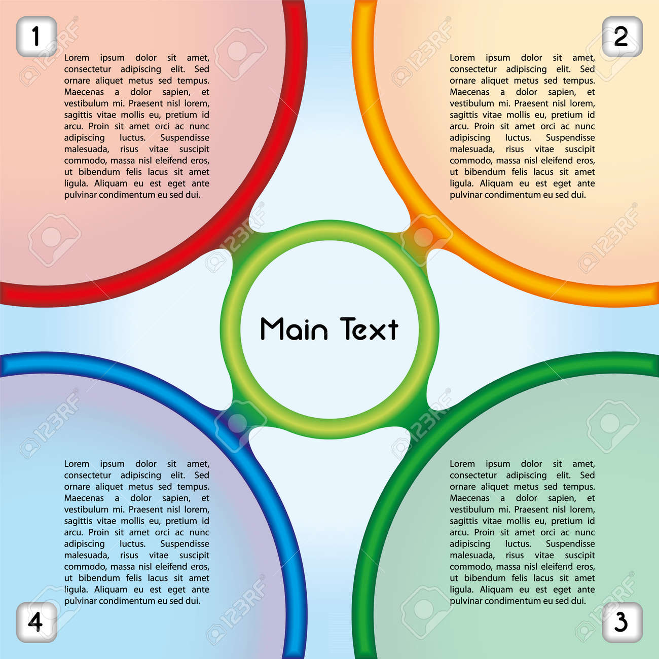 Colorful presentation template with four main text boxes and an oval central element Stock Vector - 22487481