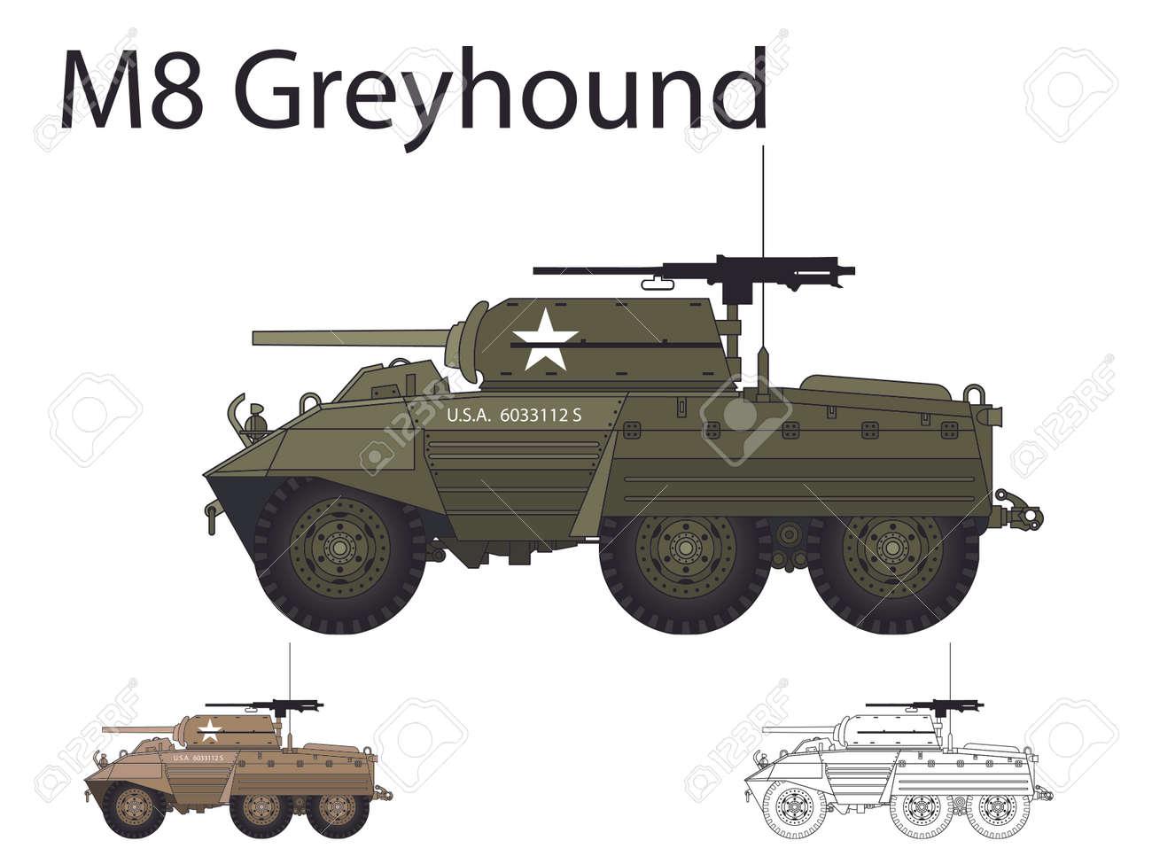American WW2 AFV M8 Greyhound