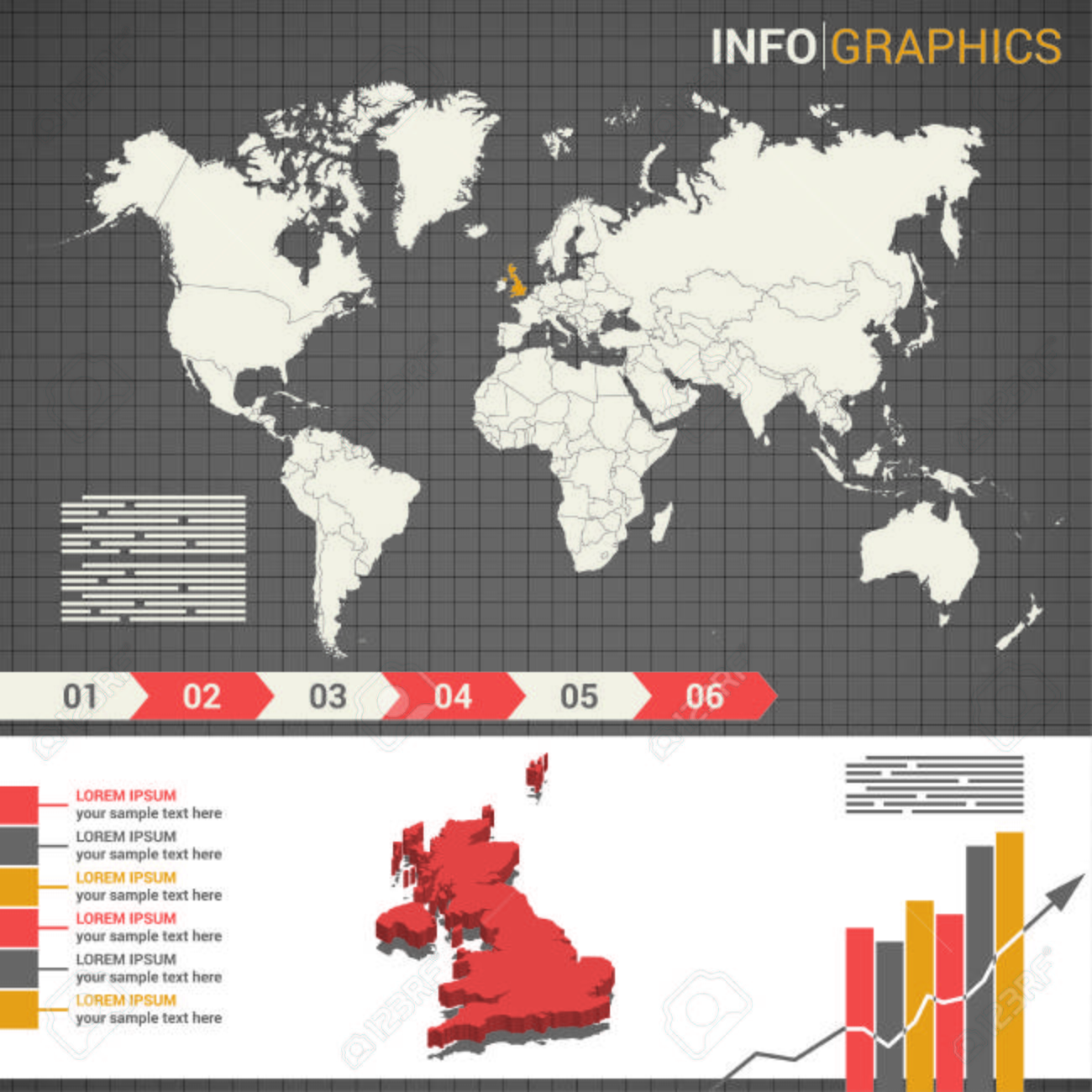 World Map And Infographic Elements With The 3d Map Of Great Britain
