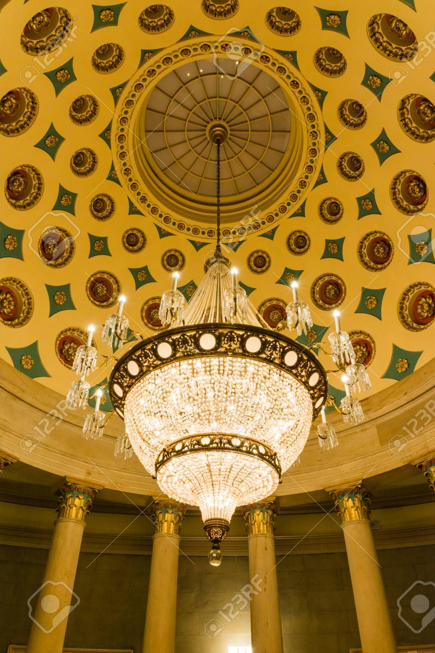 Us Capitol Building Underground Crypt Chandelier Architecture Stock Photo Picture And Royalty Free Image Image 69972409