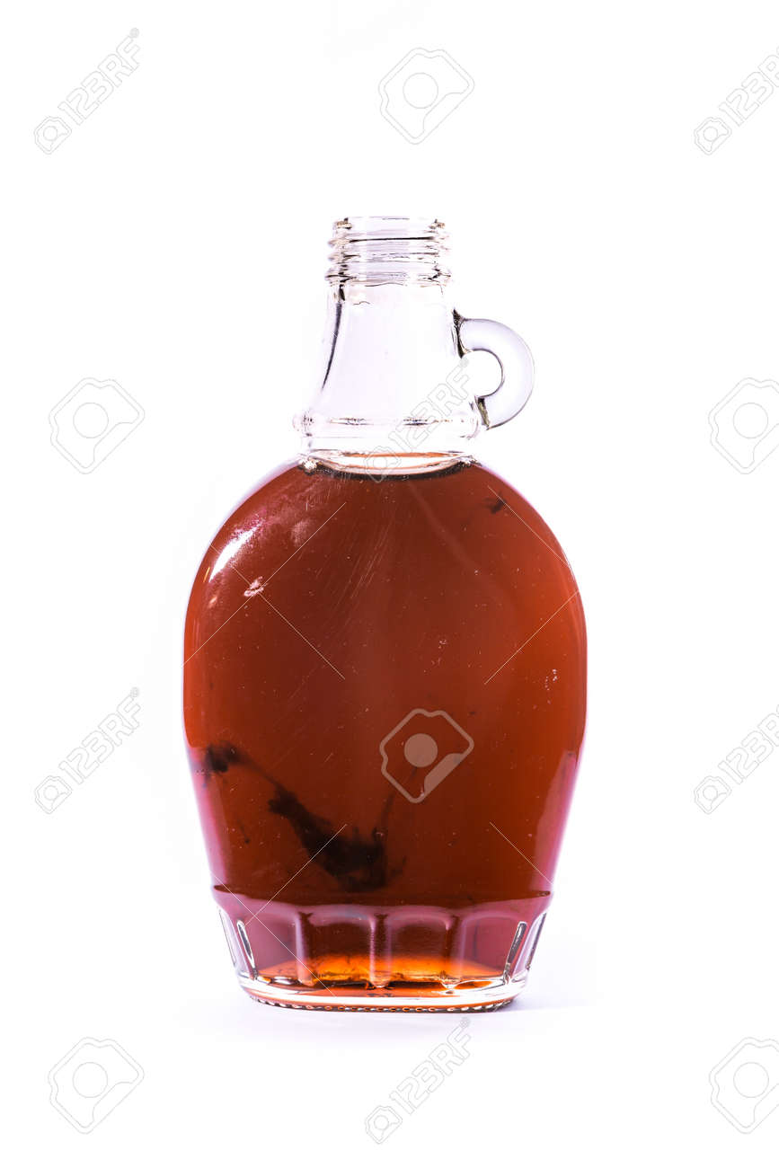 Glass Jar Jug Clear Brown Maple Syrup Container White Isolated