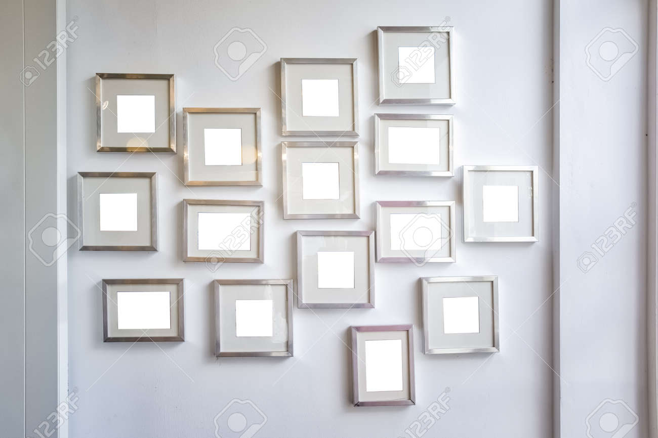 Multiple Many Blank Small Picture Frames Wall White Pure Mockup ...