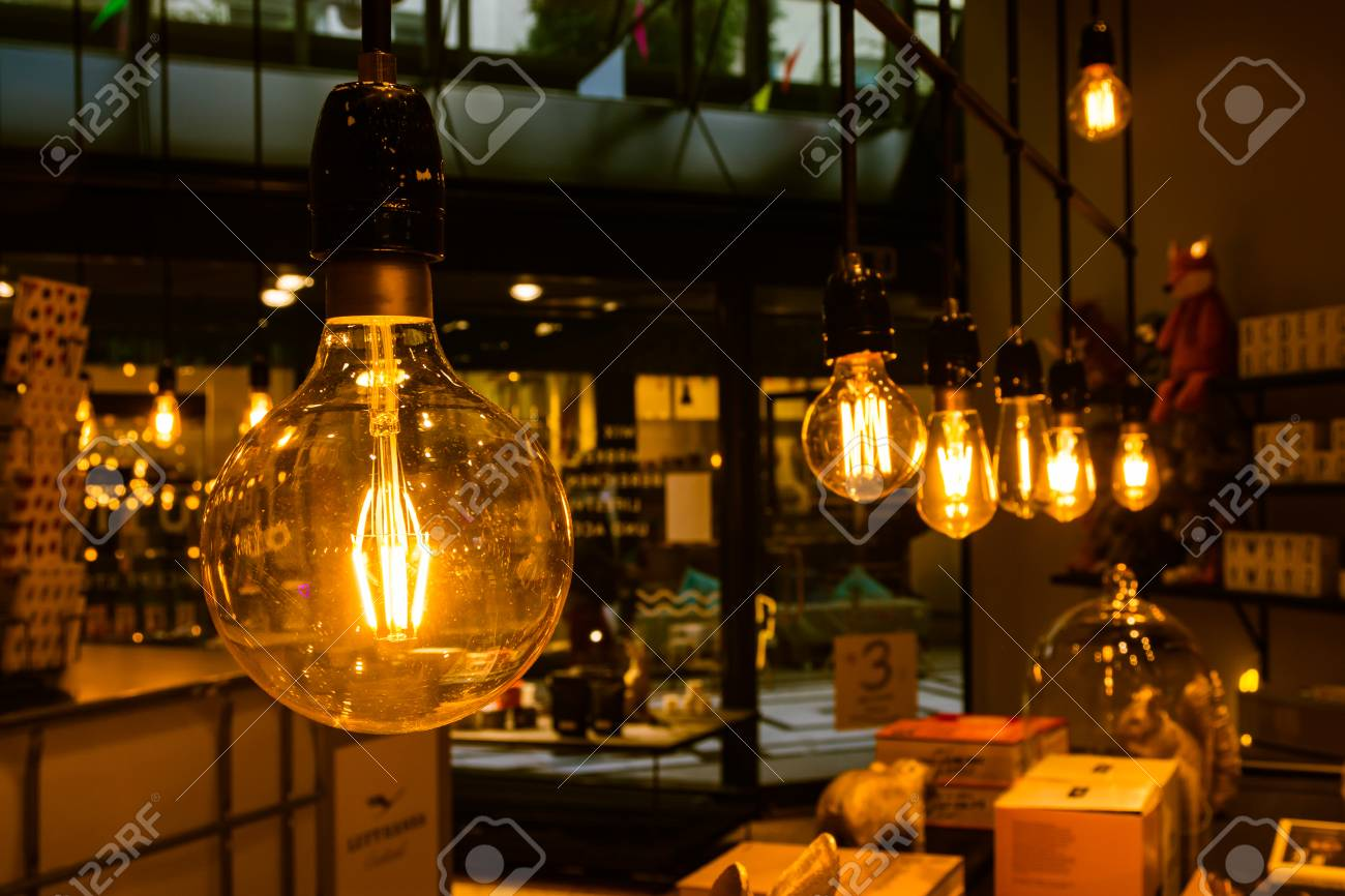 Beautiful Stock Photo   Vintage Light Bulbs Orange Tungsten Wire Interior Decoration  Inspiration Retro Furniture