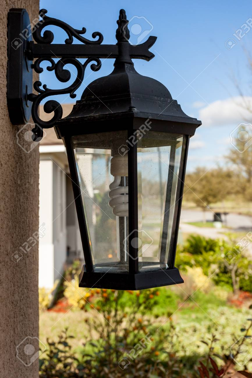 Outdoor Porch Lantern Light Fixture Mounted On House With Eco Stock Photo Picture And Royalty Free Image Image 118584111