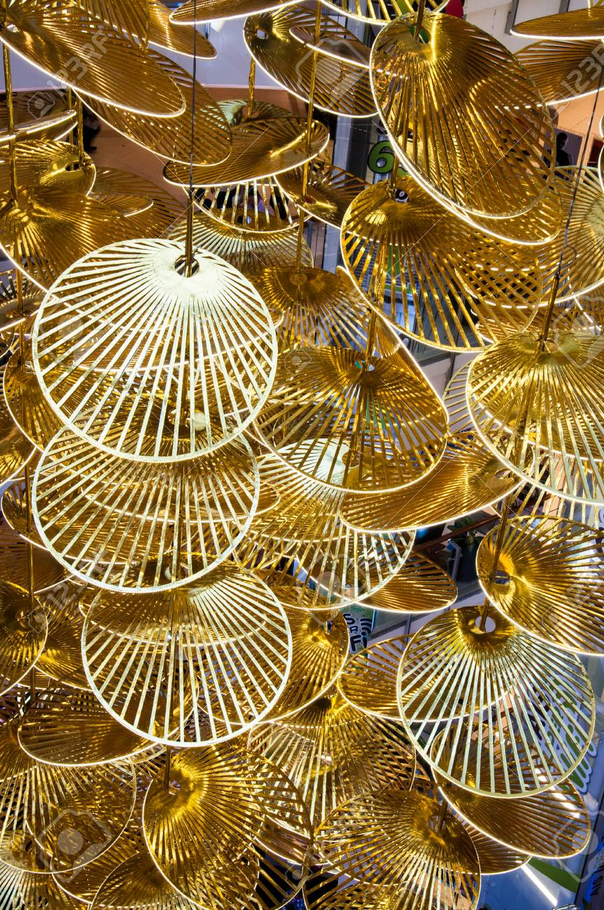 Chinese New Year Decoration In Shape Of Golden Fan Stock Photo ...