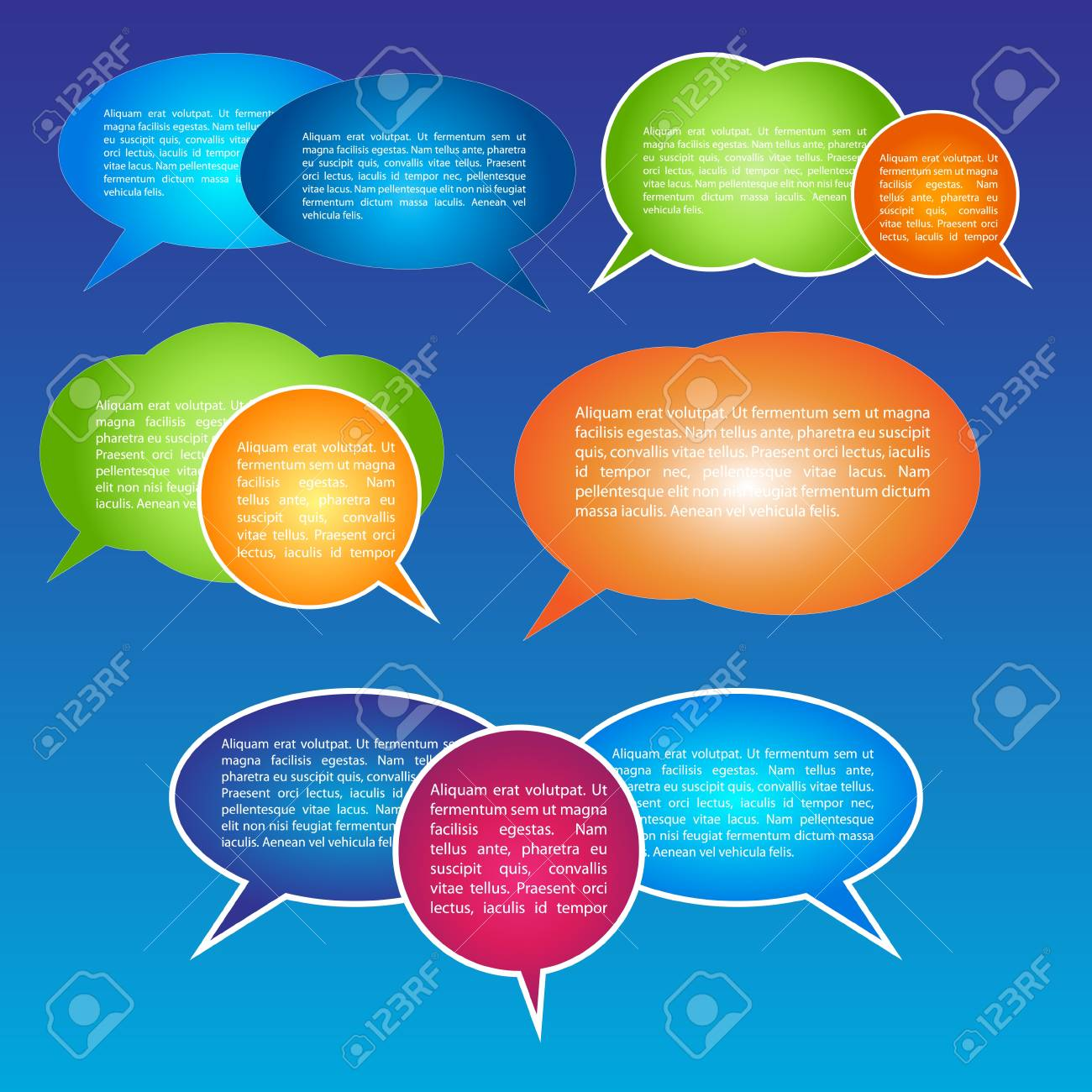 EPS10 Set of Colorful Bubbles for Speech Vector Design Stock Vector - 11406831