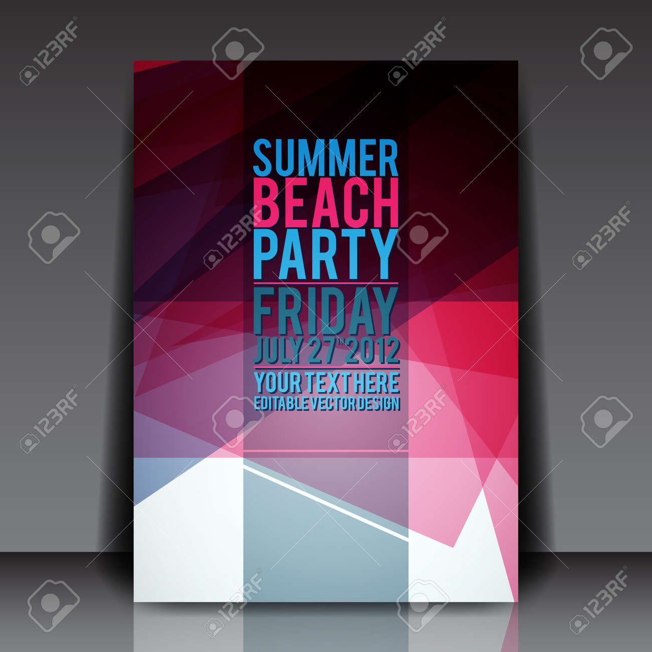 Abstract Summer Party Flyer Template Royalty Free Cliparts, Vectors ...