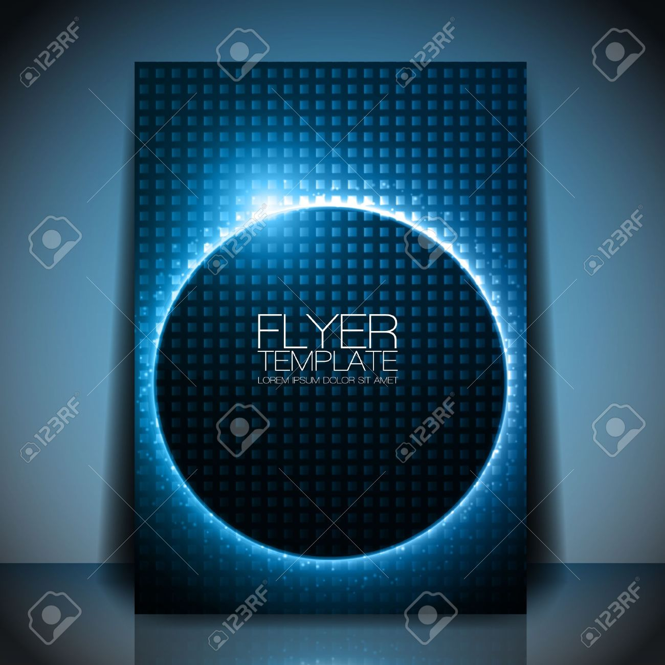 Abstract Flyer Template Blue Shiny Circle Behind Dark Design – Blue Flyer Template