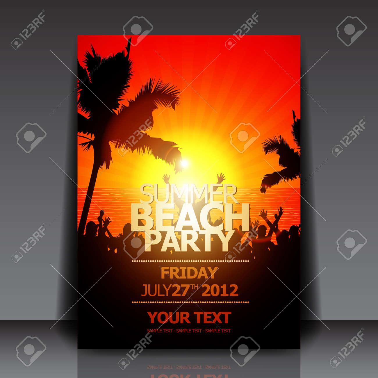 Summer Beach Party Flyer Stock Vector - 14425234