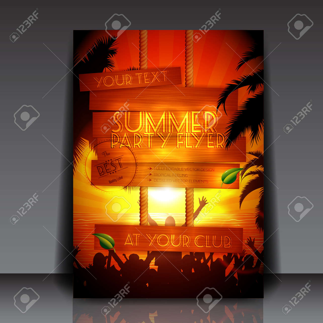 Party people on the beach in summer - Fully Editable Party Flyer Stock Vector - 14426825