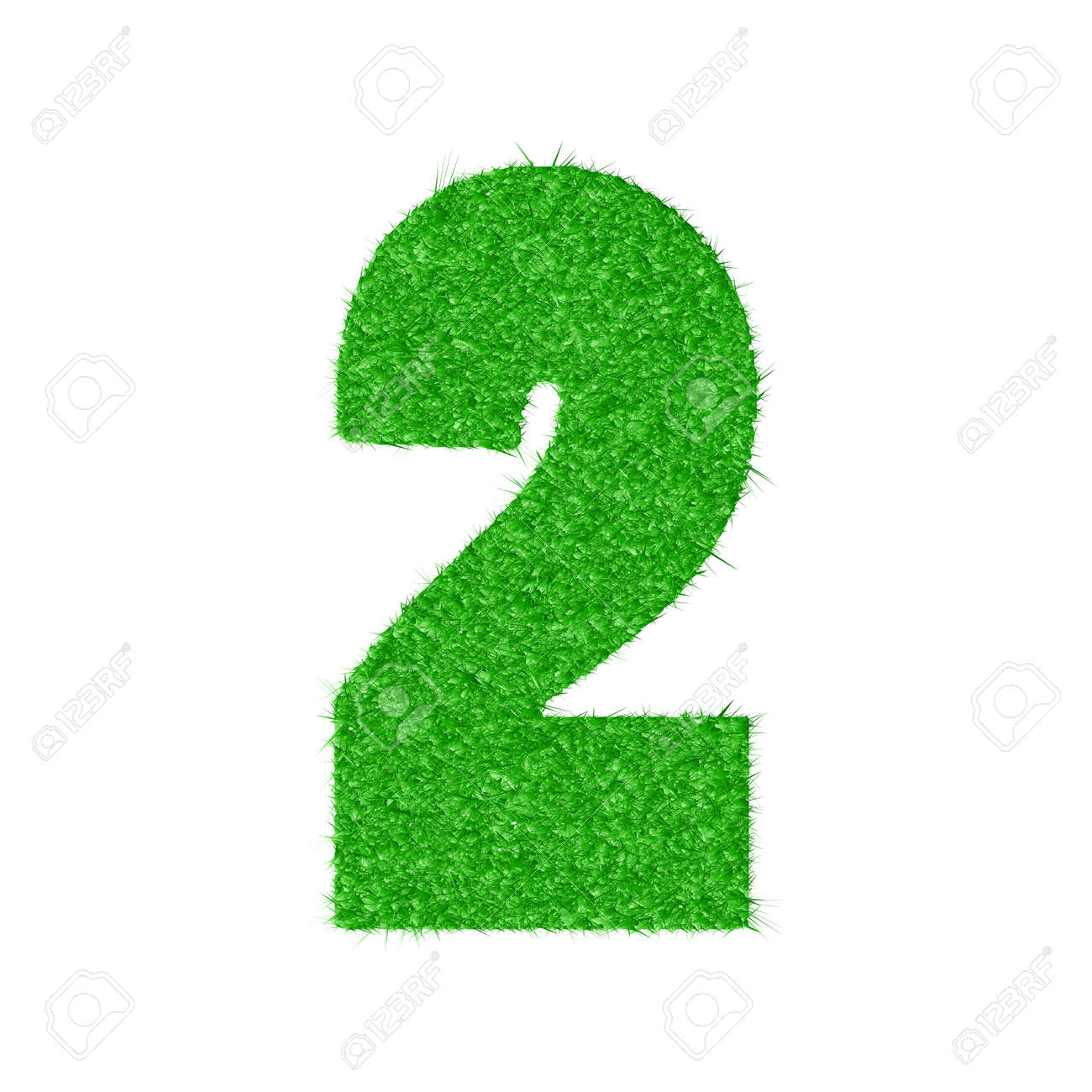 3D number 2 - from my natural green grass number collection Stock Vector - 14422408