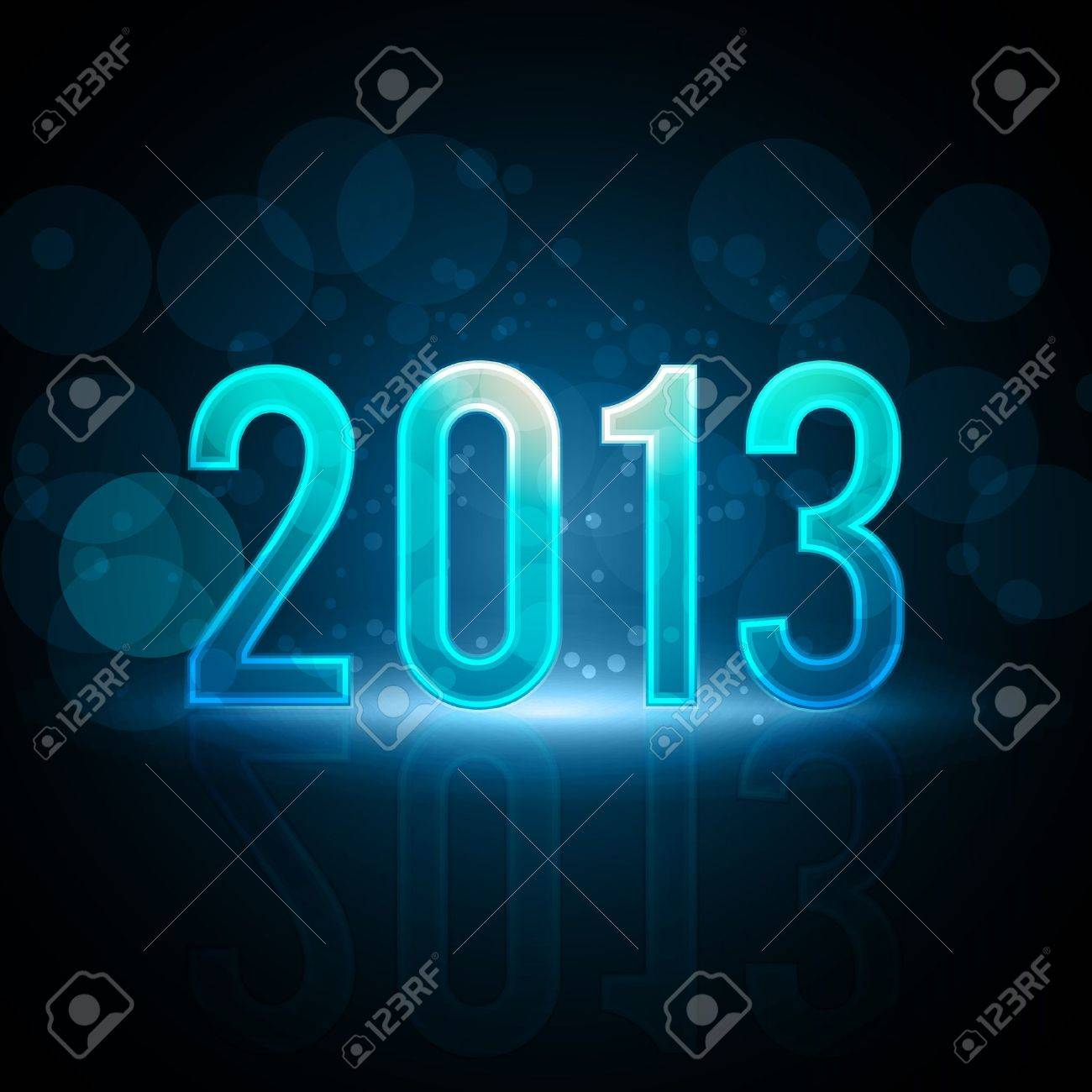 Happy New Year 2013 Message Neon Background Stock Vector - 15282661