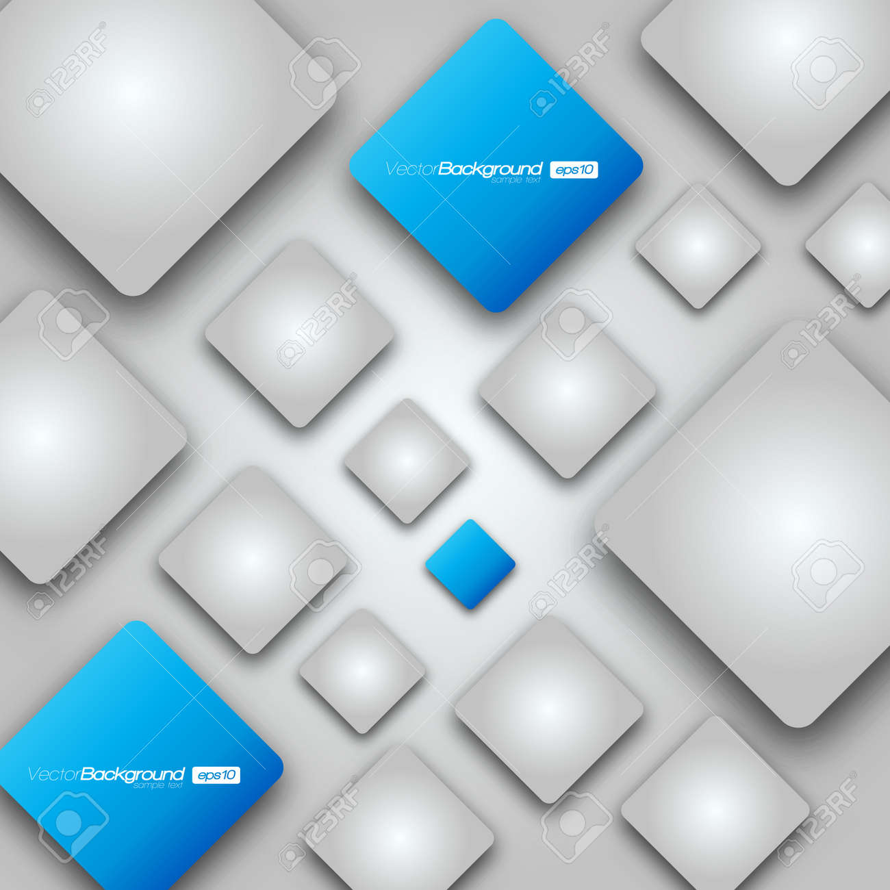 3D Shiny Rounded Squares on grey background Illustration Stock Vector - 15276024