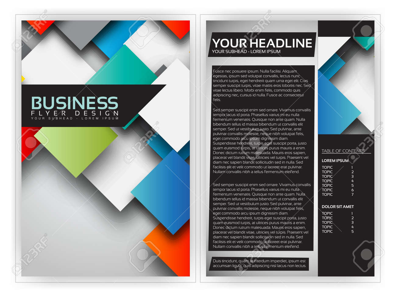 Colorful D Squares Business Brochure Template Design Royalty Free - 3d brochure template