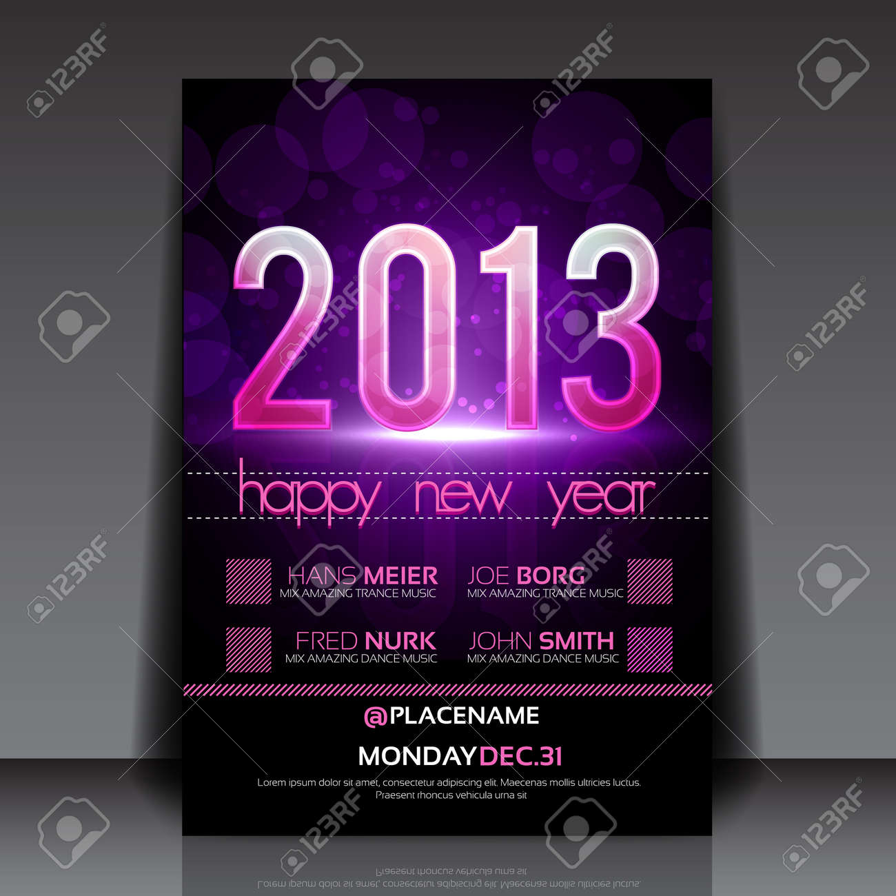 Happy New Year 2013 Purple Editable Flyer Template Royalty Free