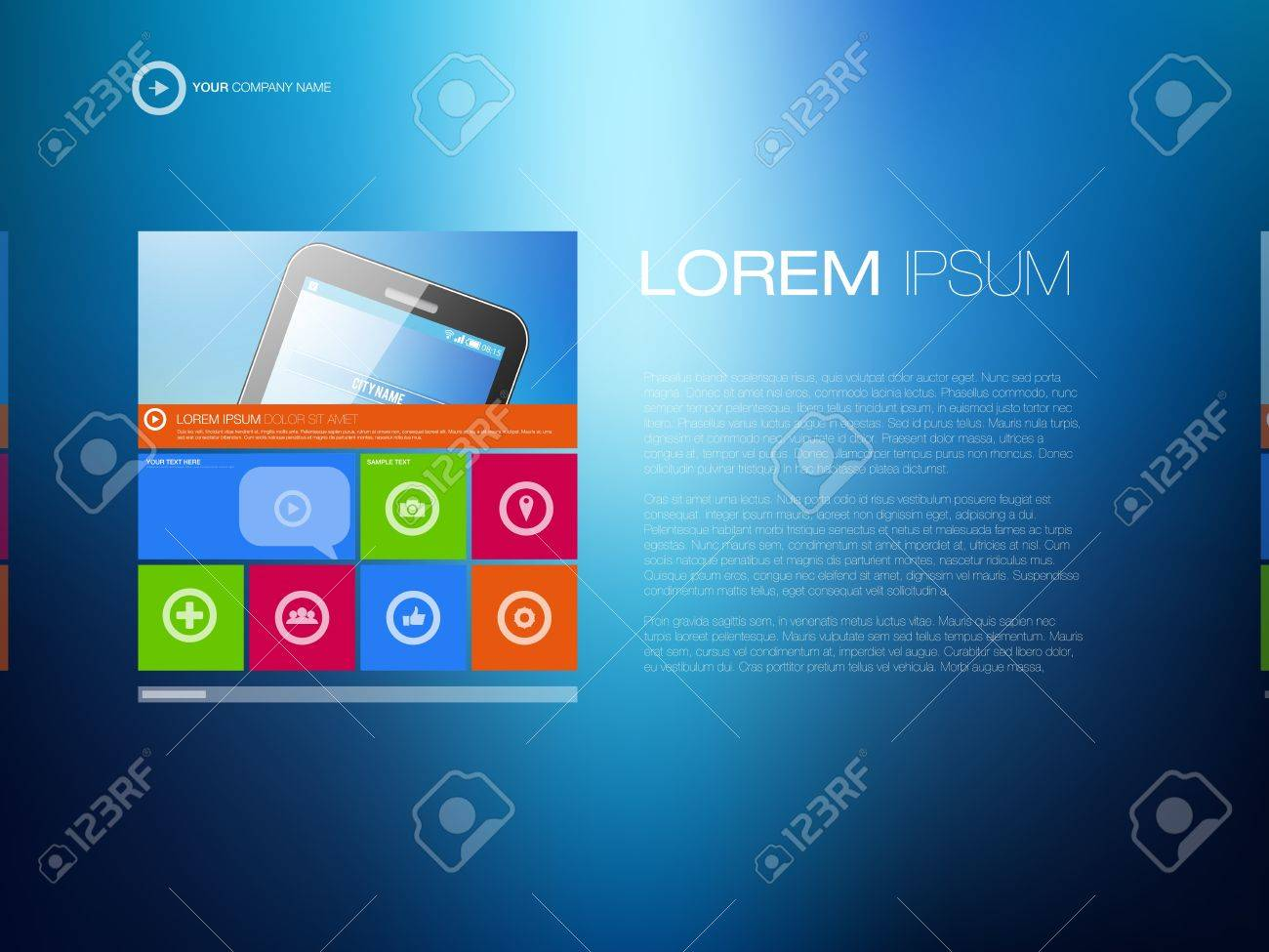 Modern Website Template   Creative Media Design   EPS10 Editable Vector Layout Stock Vector - 18082107