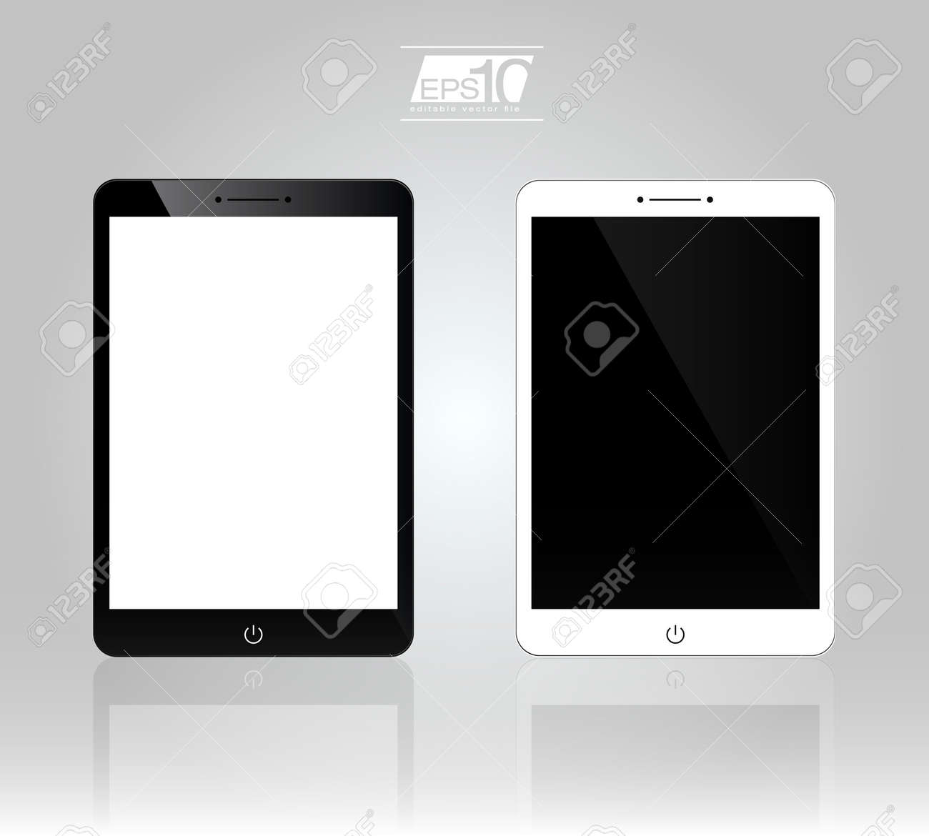 Set of 3D Realistic Tablet PC Computer Template  White and Black Variation Stock Vector - 19897655