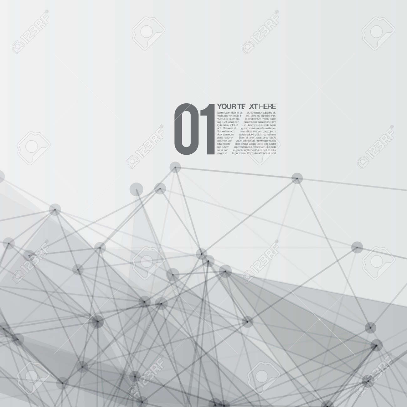 3D Black and White Abstract Mesh Background with Circles, Lines and Shapes Stock Vector - 19897668