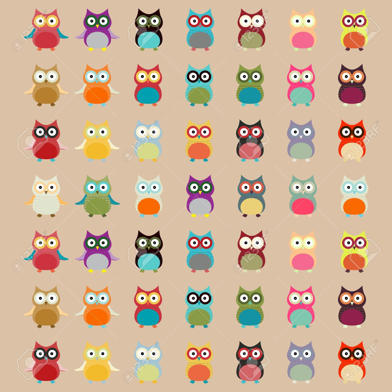 cute colorful owl pattern vector background royalty free cliparts