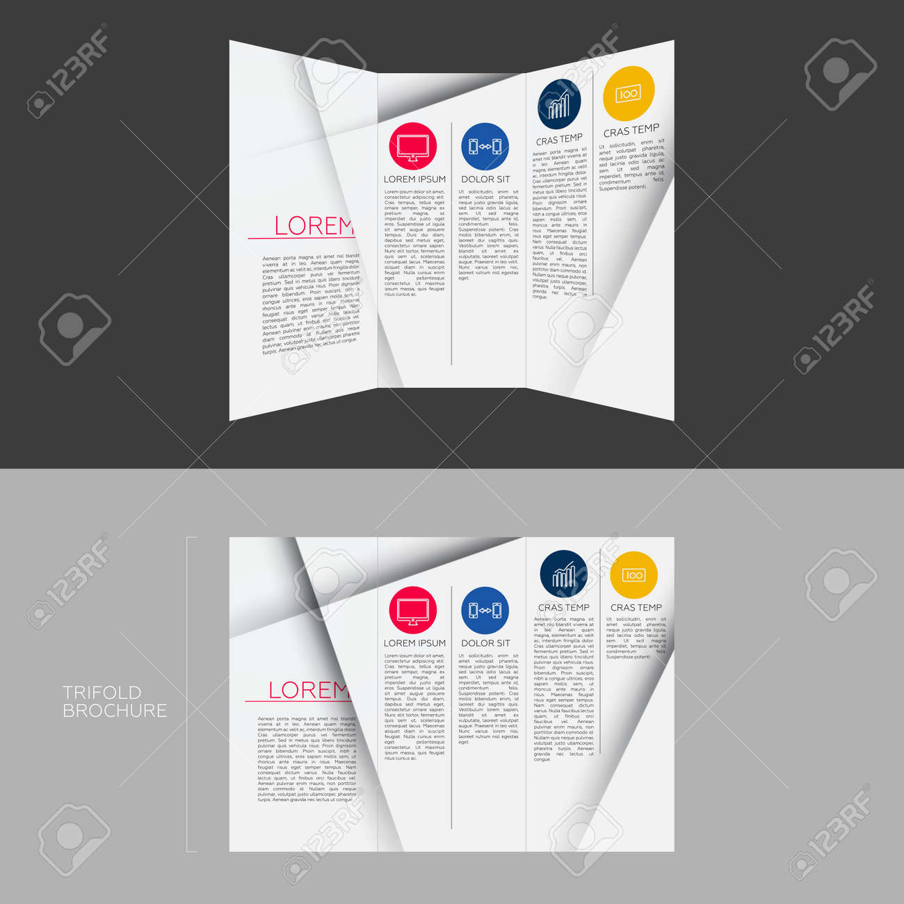 Trifold Brochure Template Design In DL Size Royalty Free Cliparts ...