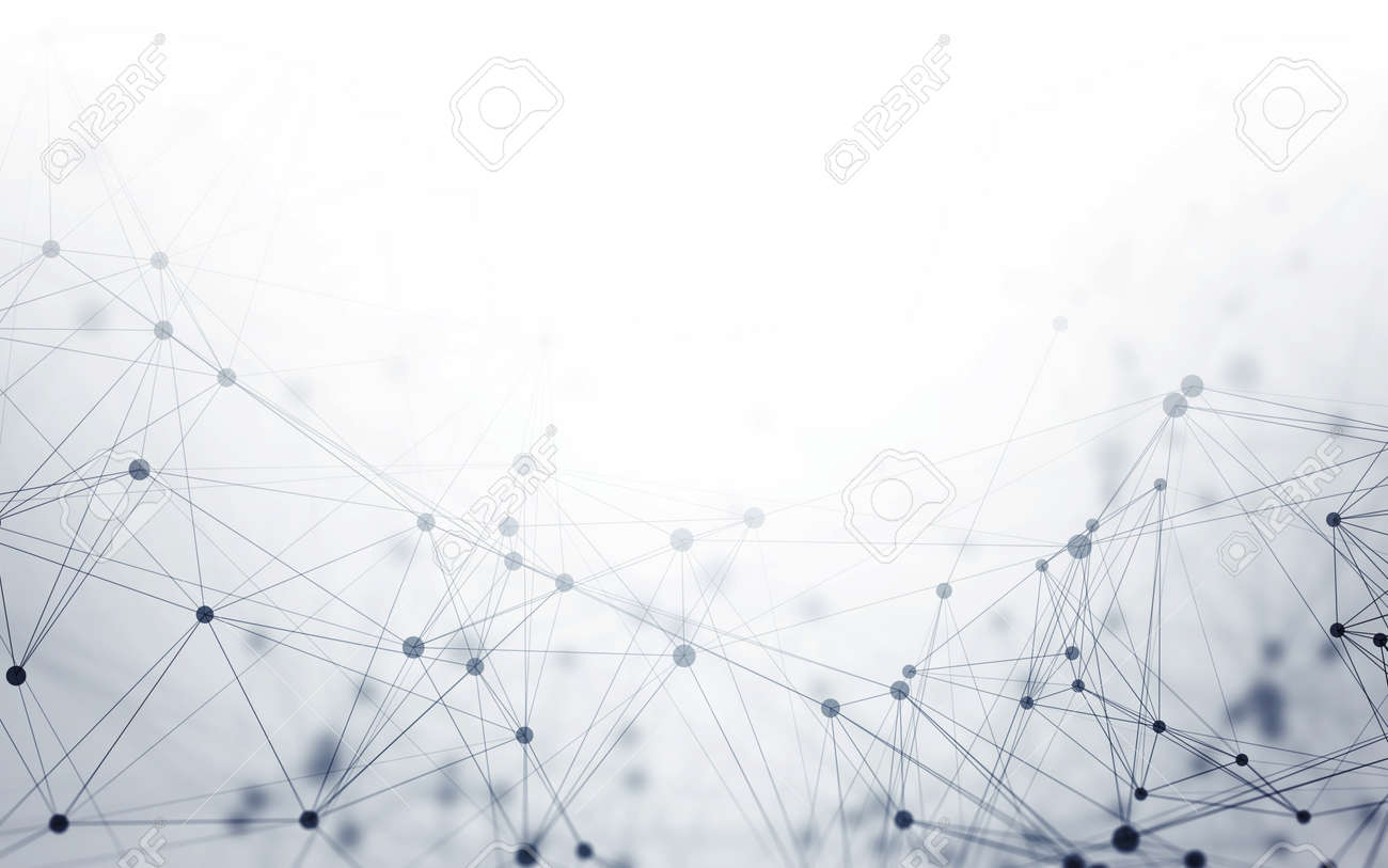 Abstract 3D Polygonal White Background with Low Poly Connecting Dots and Lines - Connection Structure - Futuristic HUD Background - 68601217