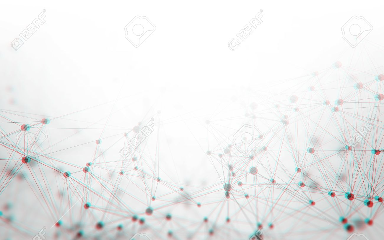 Polygonal 3D Abstract Background with White Space Gray Low Poly Connecting Dots and Lines - Connection Structure - Futuristic Design HUD - 79522726