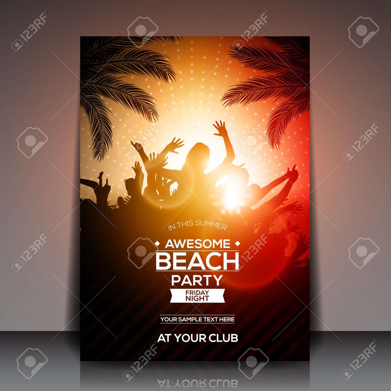 Orange Summer Beach Party Flyer Template - Vector Design Royalty ...