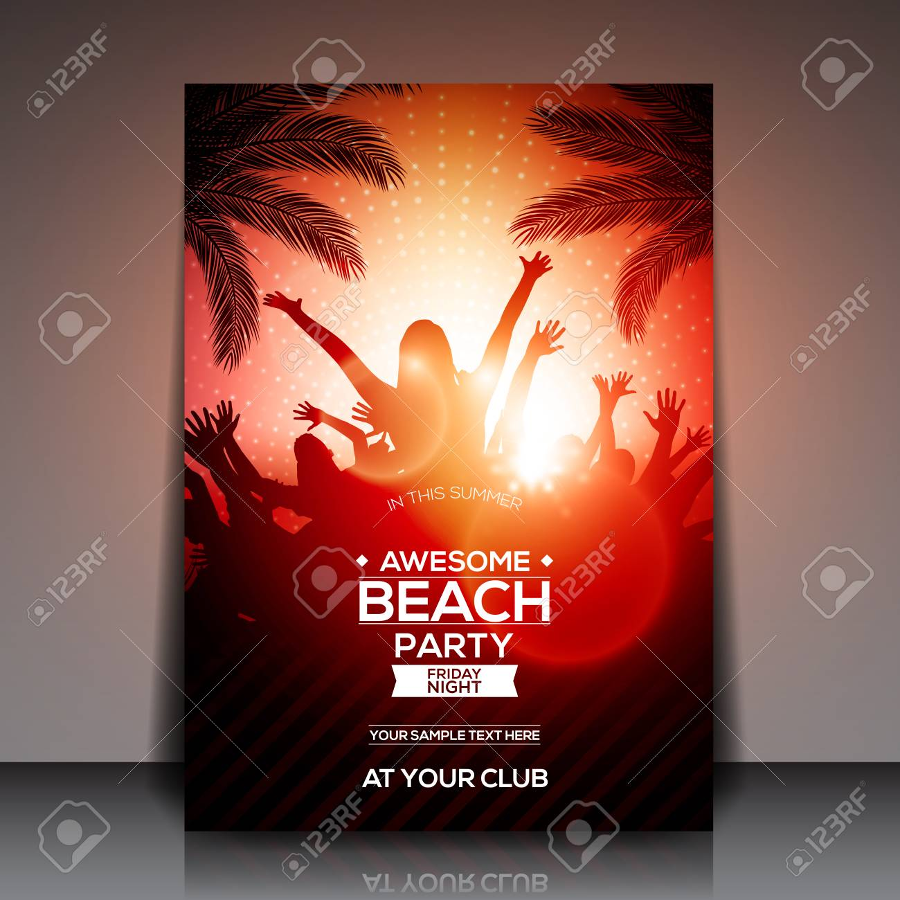 Red Summer Beach Party Flyer Template - Vector Design Royalty Free ...