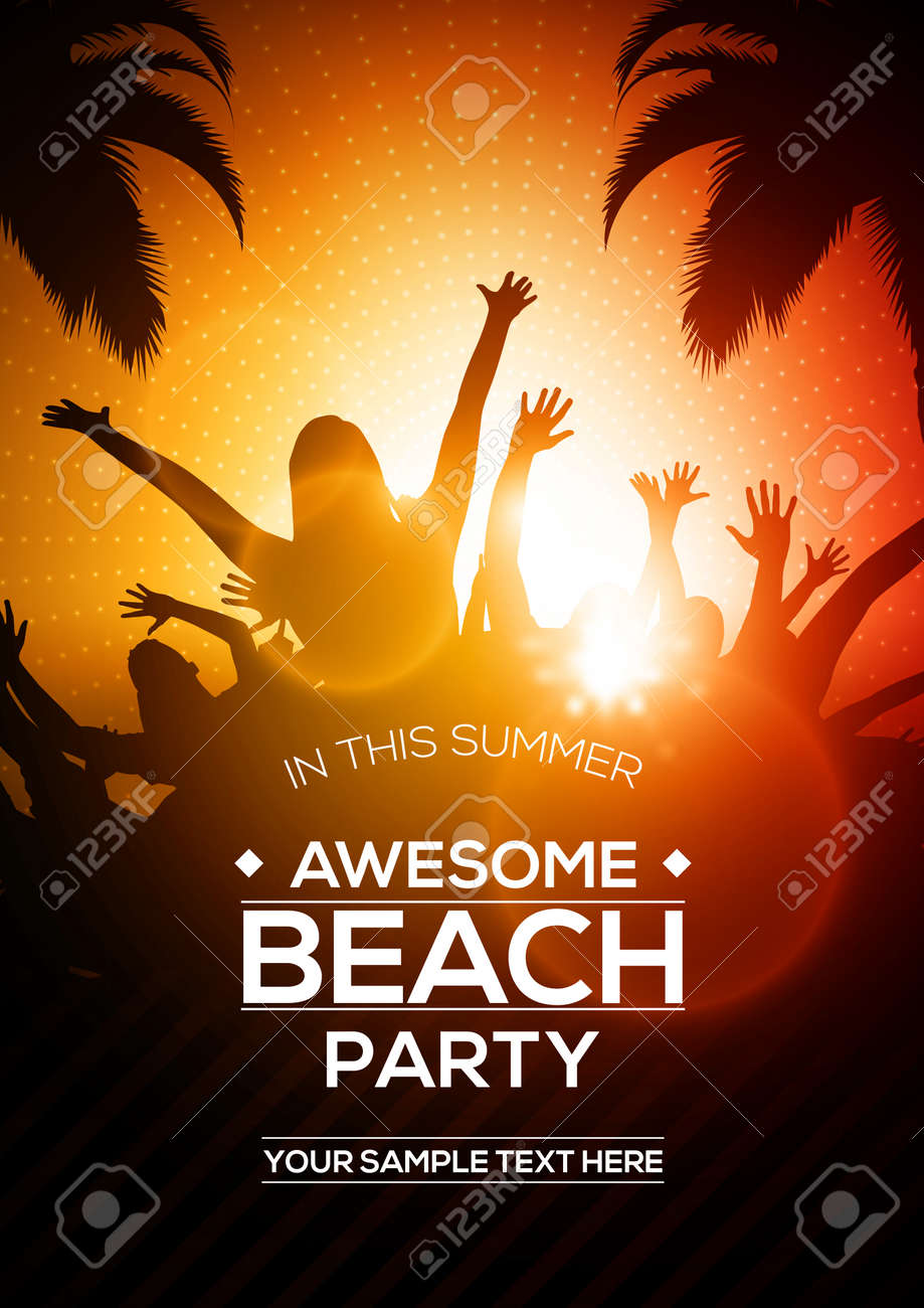 editable vector summer beach party flyer template a4 size design