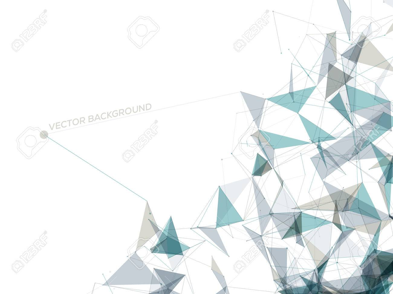 abstract polygonal space white background with gray and blue