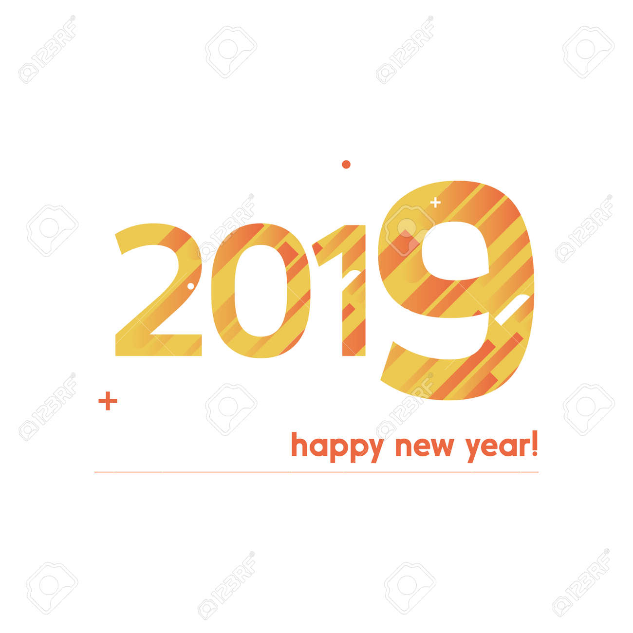 Happy New Year 2019 Vector Illustration - Bold Text With Creative ...