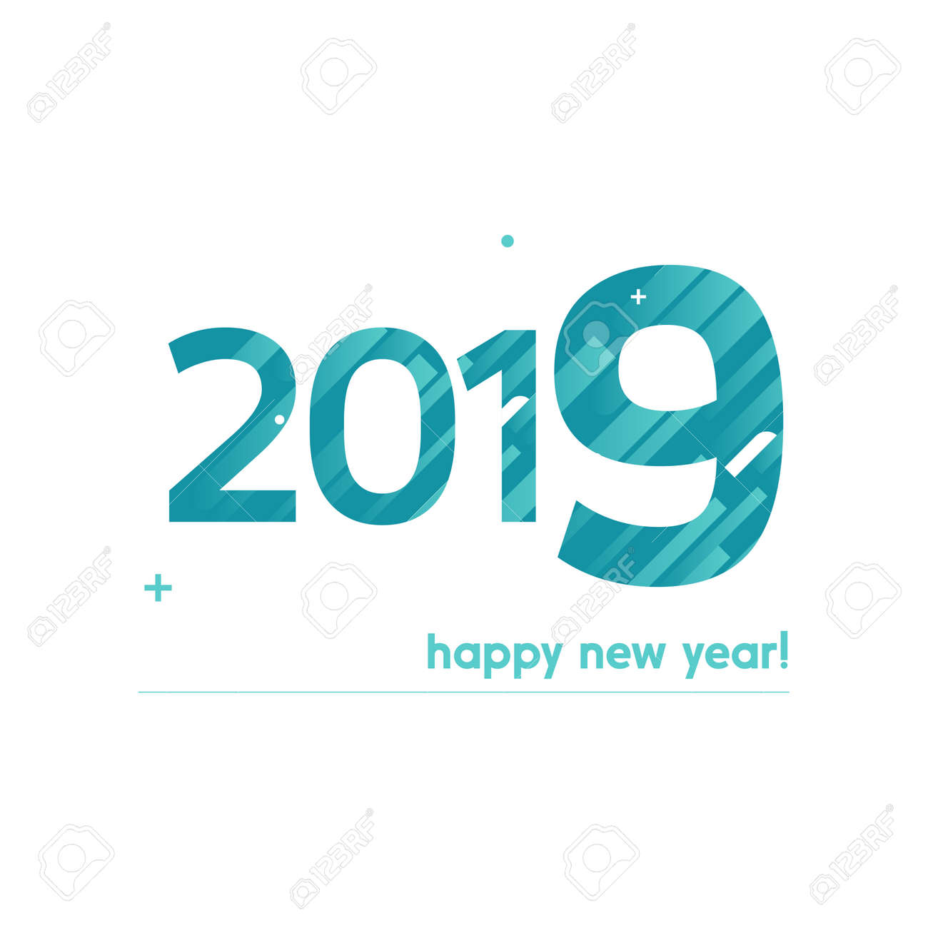 happy new year 2019 vector illustration bold text with creative design on white background