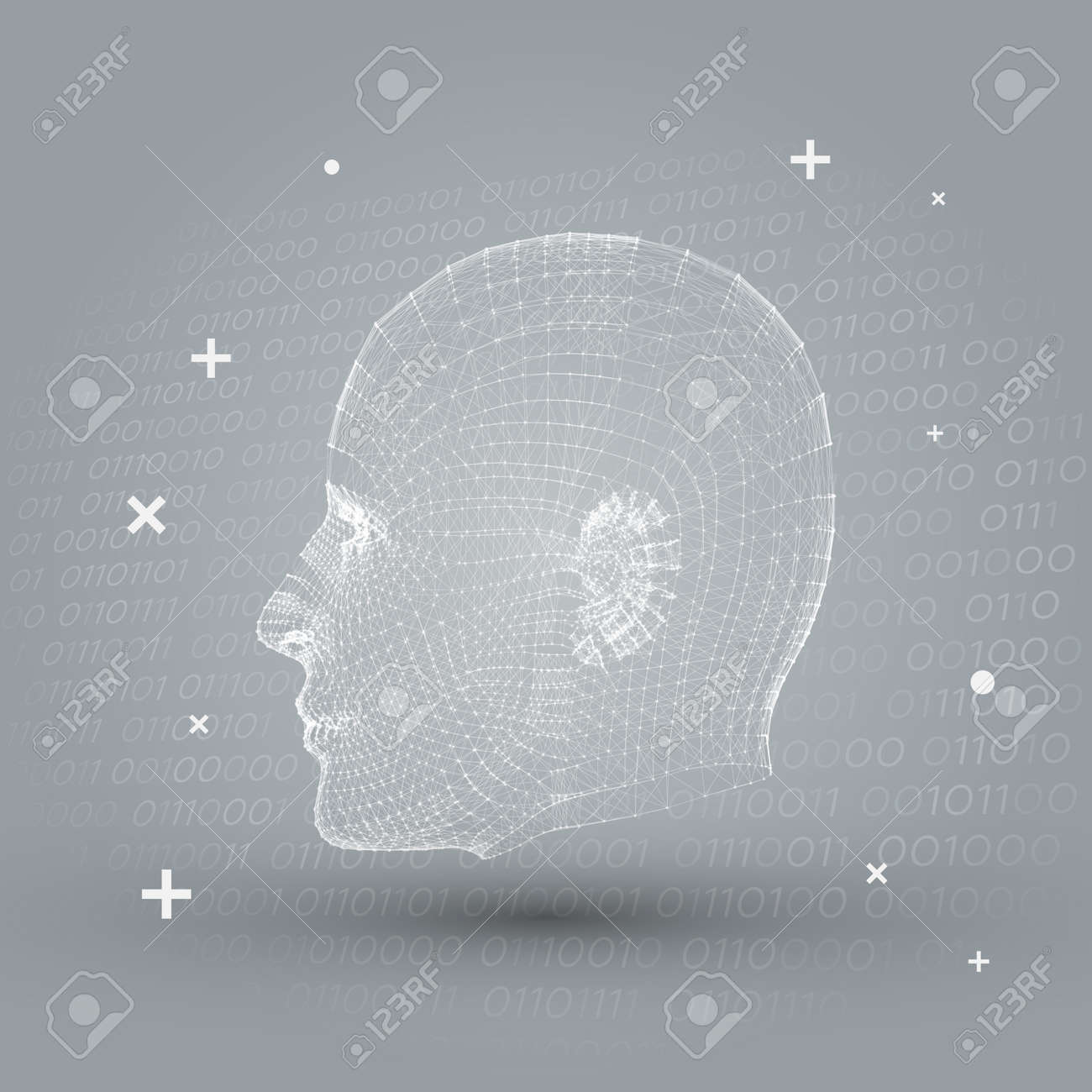 Artificial intelligence with white cyborg mesh face vector artificial intelligence with white cyborg mesh face vector illustration background grey futuristic business presentation template toneelgroepblik Gallery