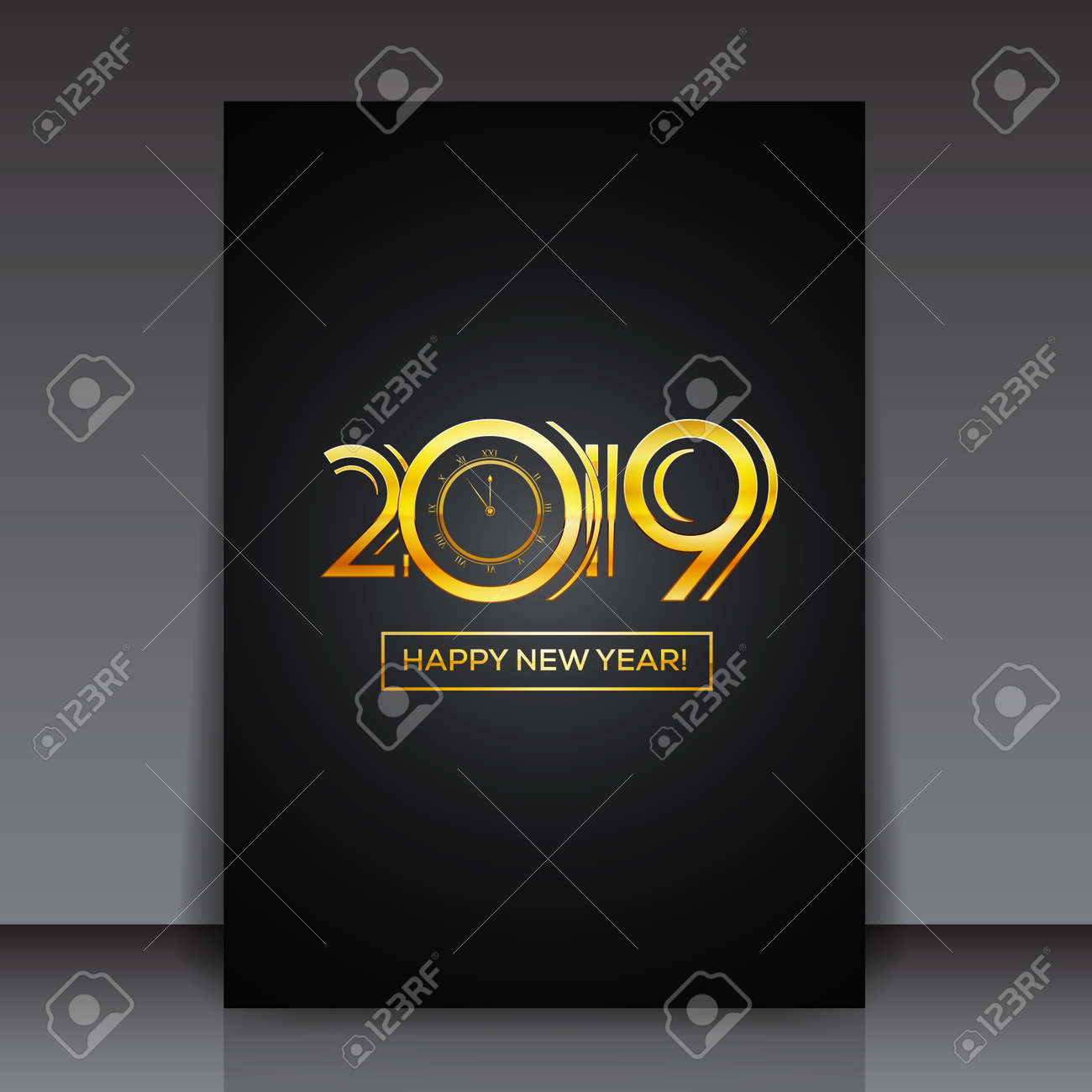 Happy New Year 2019 Greeting Card Or Flyer Template Design