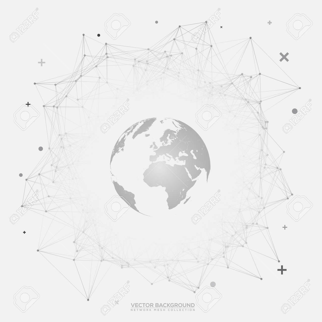 Black And White Round Network Wireframe With 3D Globe World Map On ...
