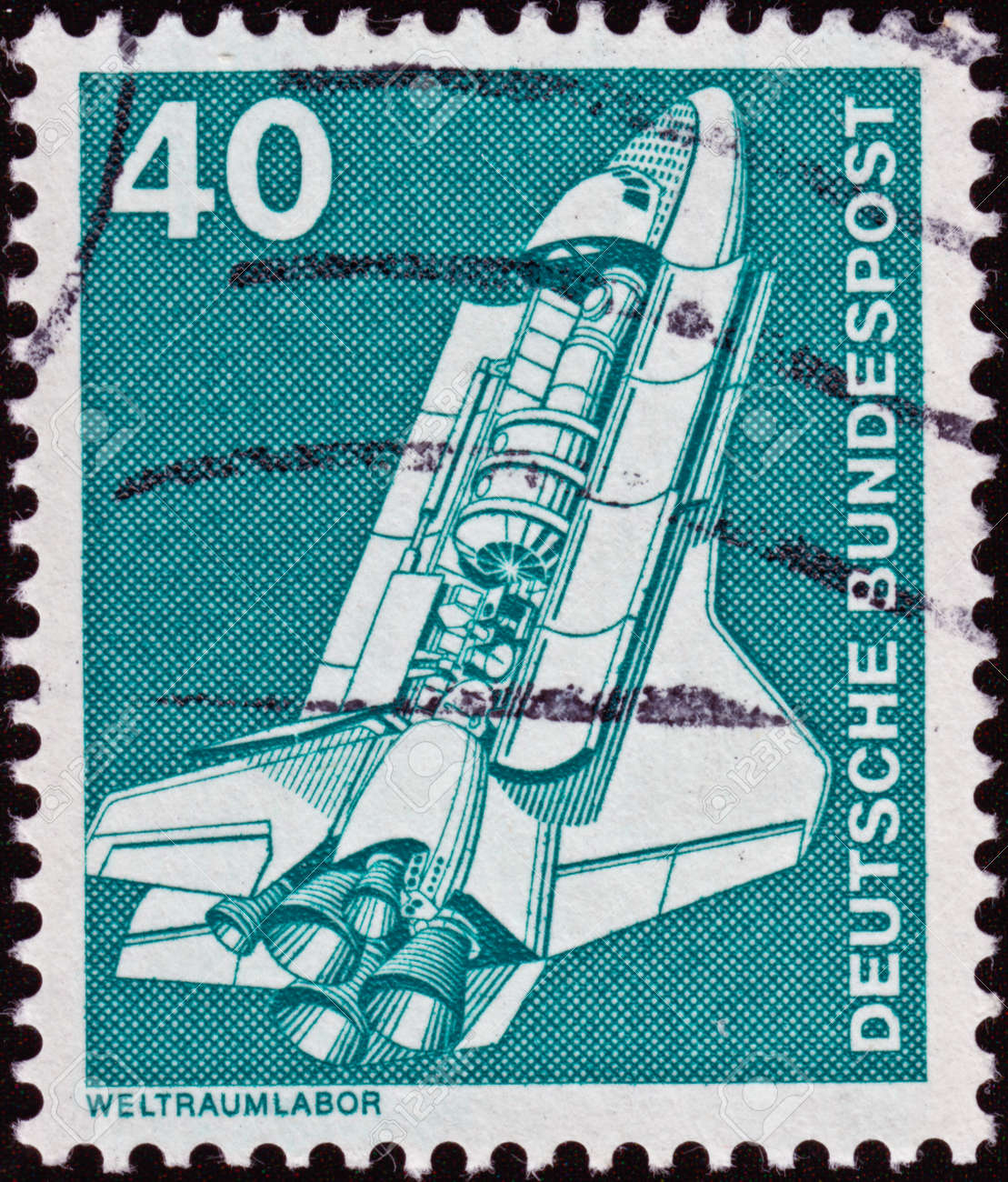 A German Stamp Of Space Ship Stock Photo