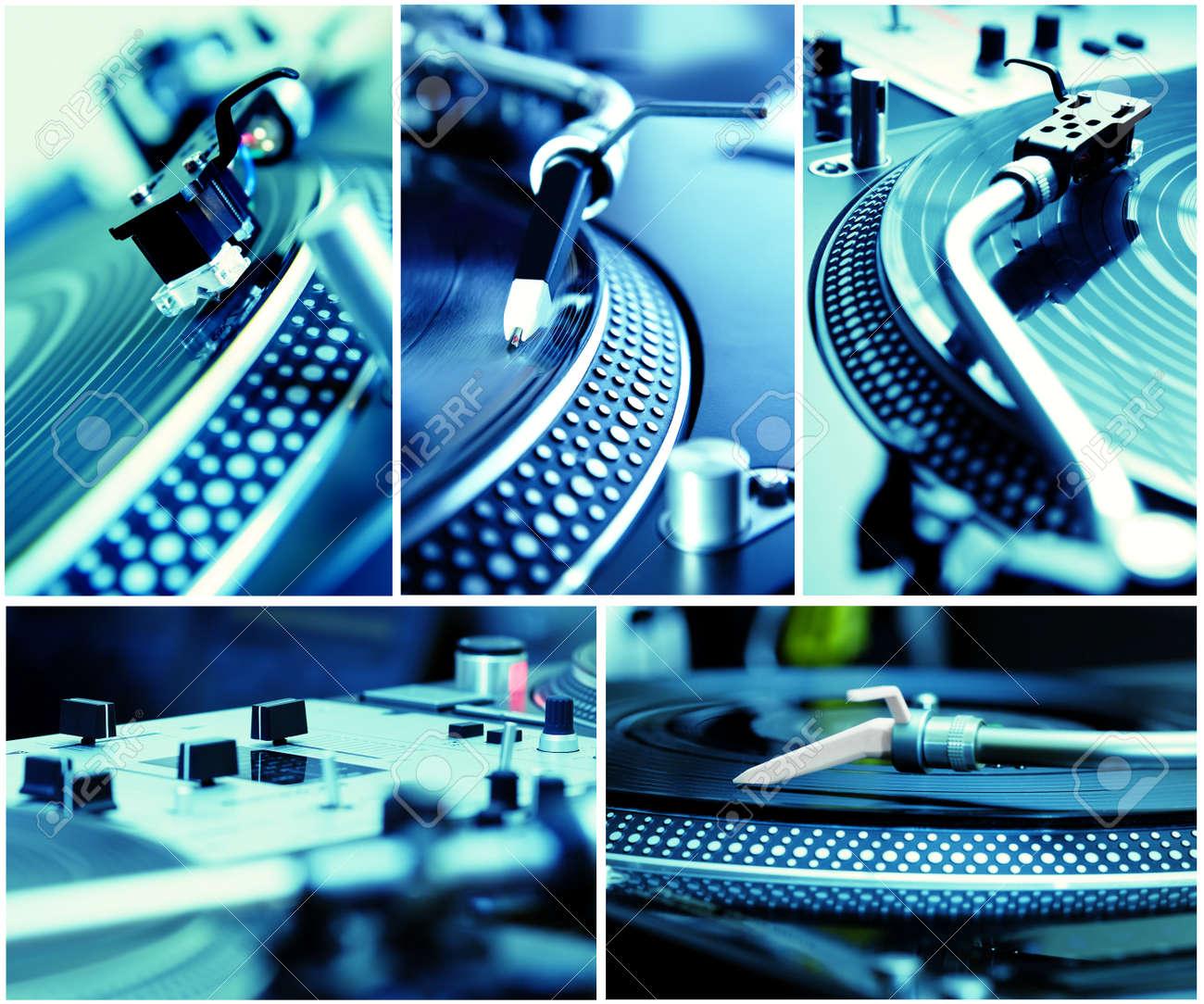 Five pictures of professional equipment for a hip-hop dj toned in blue color Stock Photo - 8953177