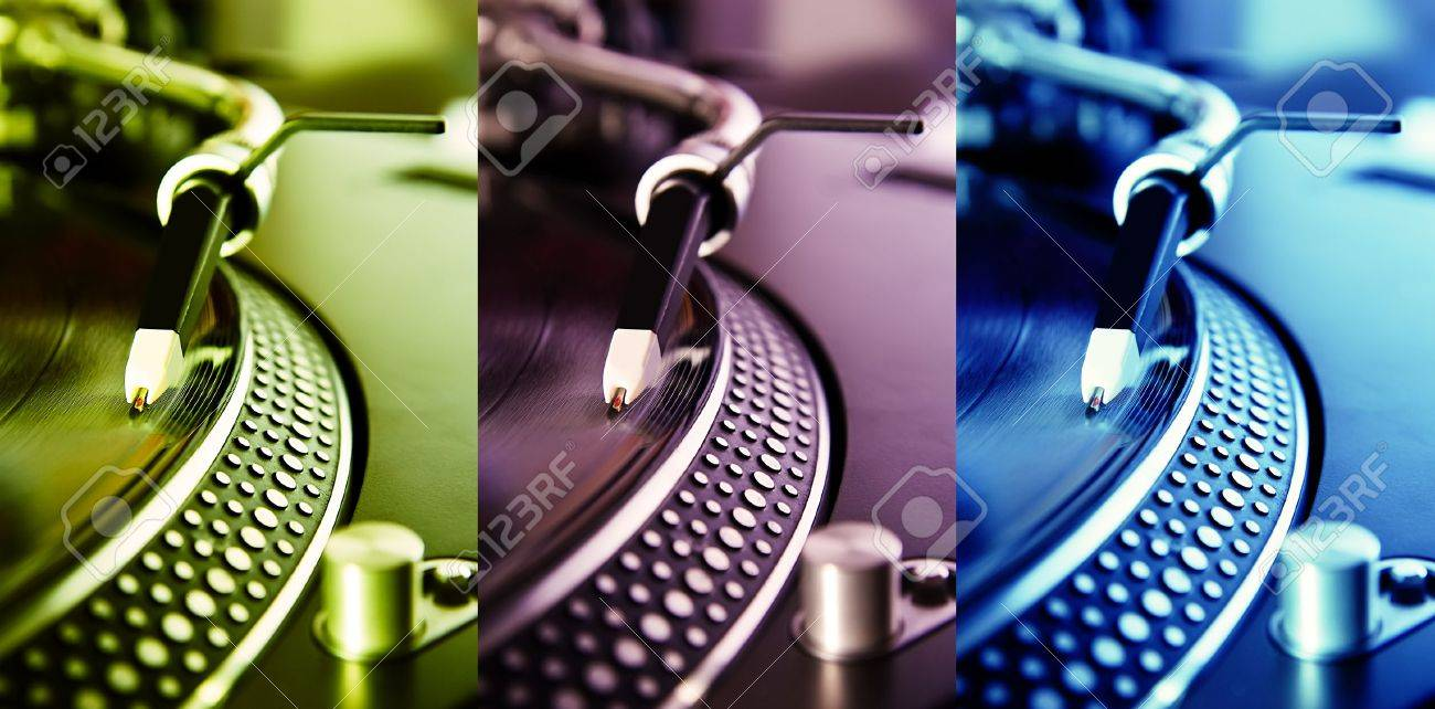 Tirple collage of turntables plaing vinyl records with music in different colors Stock Photo - 8953176