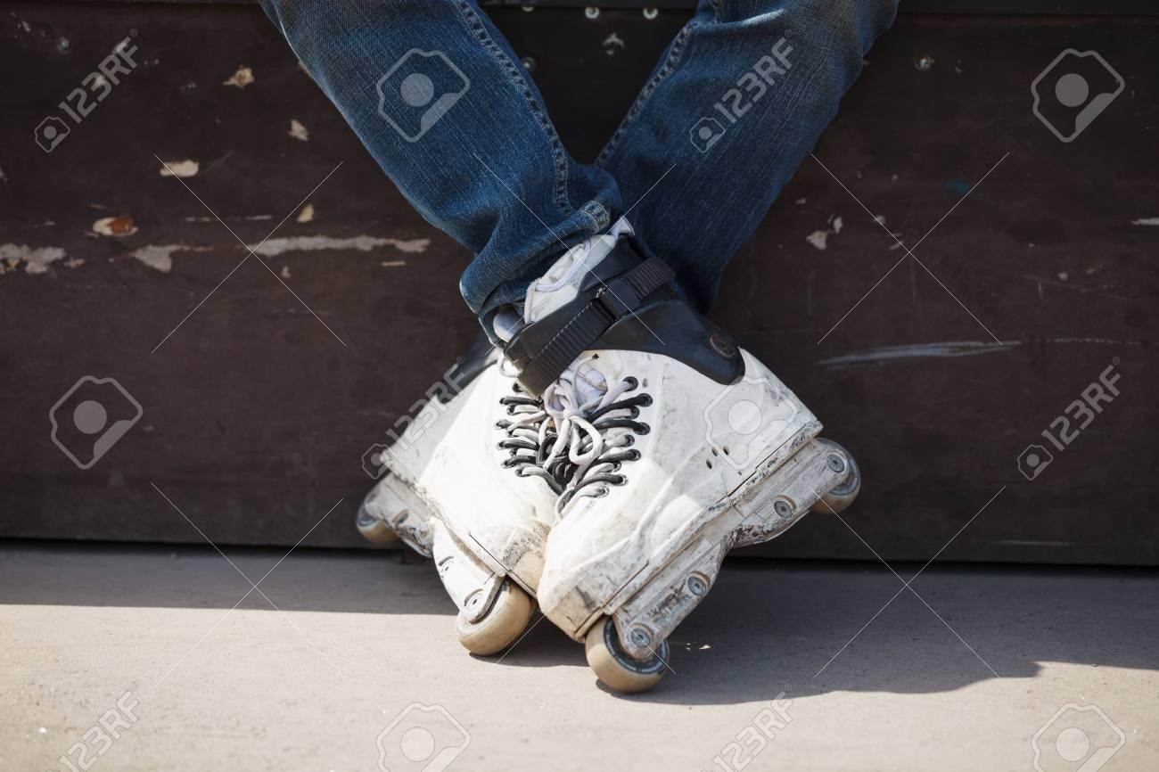 rollerskater wearing professional extreme inline skates