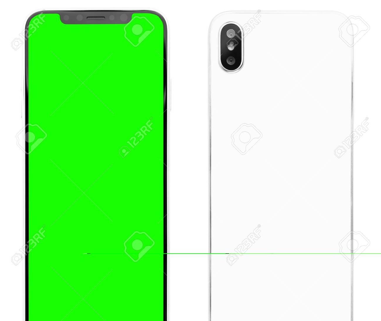 Modern smart phone model looks similar to Iphone X model Green