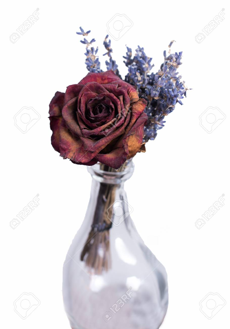 268 & Single dried red rose in empty vase. Homemade flower bouquet..