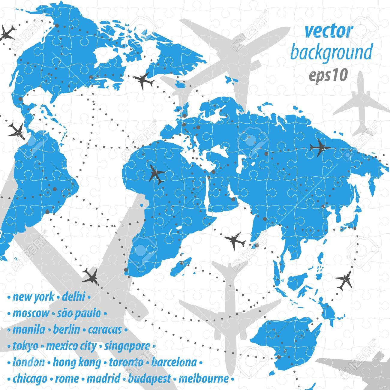 Best Image Of Diagram World Map Puzzle Vector Download More Maps - Chicago map puzzle