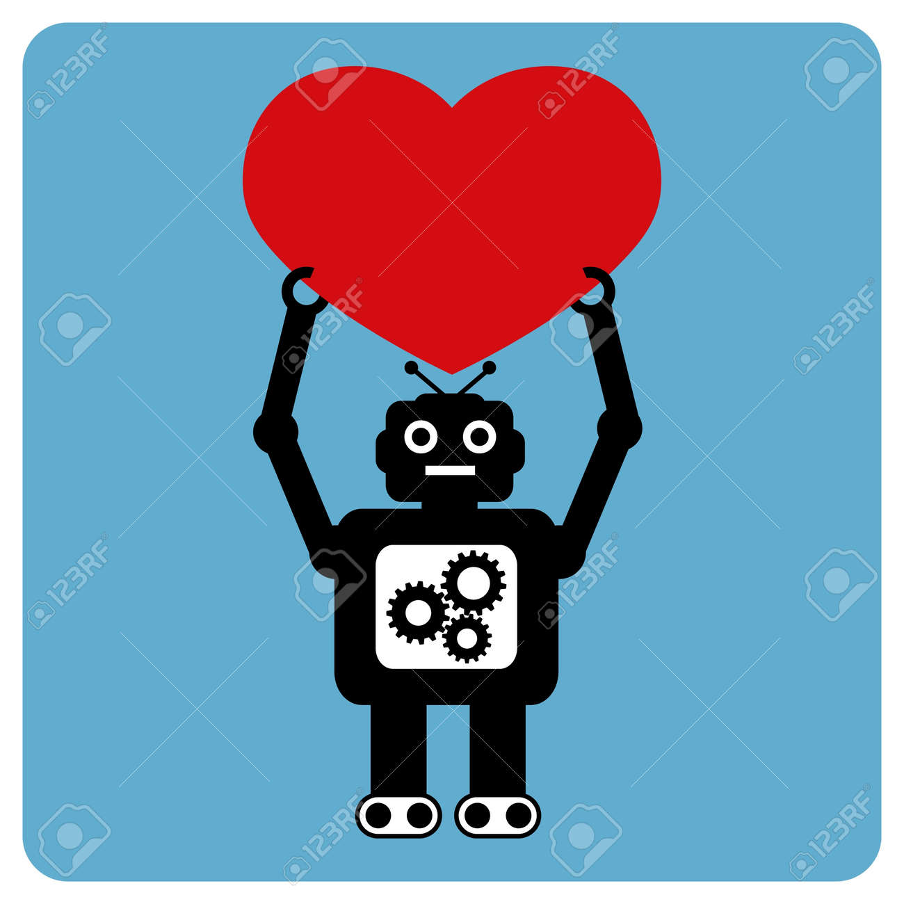 Modern robot with happy heart Stock Vector - 9865972