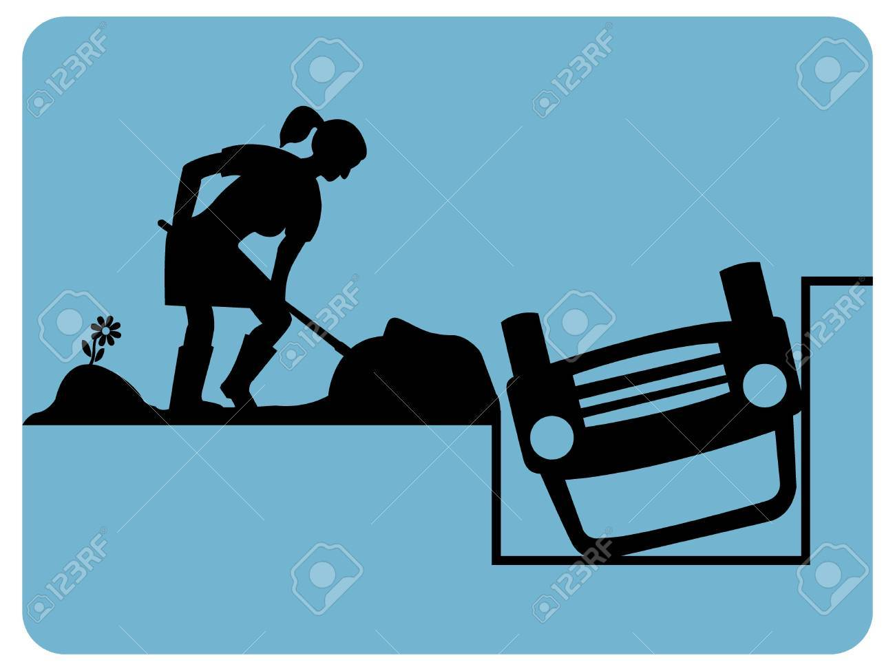 No parking traffic sign woman dig the car Stock Vector - 10014176