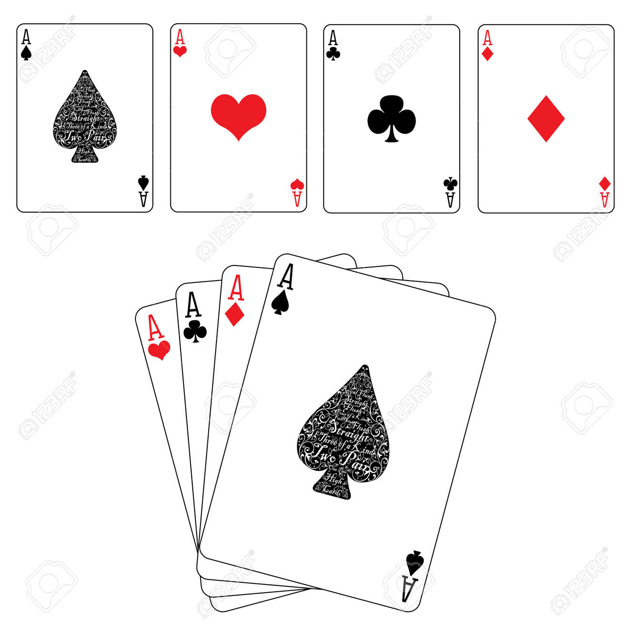Poker Cards Hearts Hearts Clubs Ace Cards