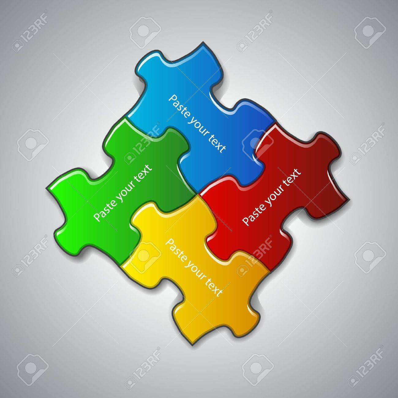 illustration made from four colorful puzzle pieces Stock Vector - 15933942