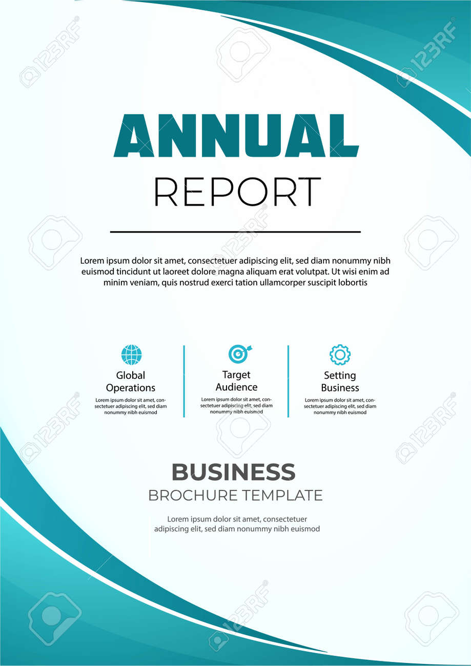 Annual report brochure with wavy shapes. Modern anual report brochure - 142139684