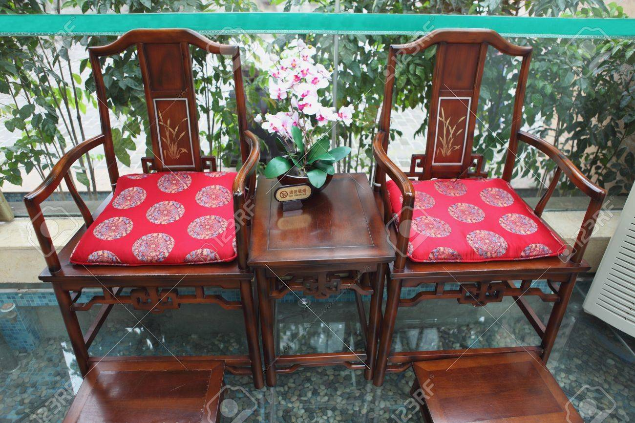 Interiors With Chinese Old Style Wooden Chairs Stock Photo   16869237