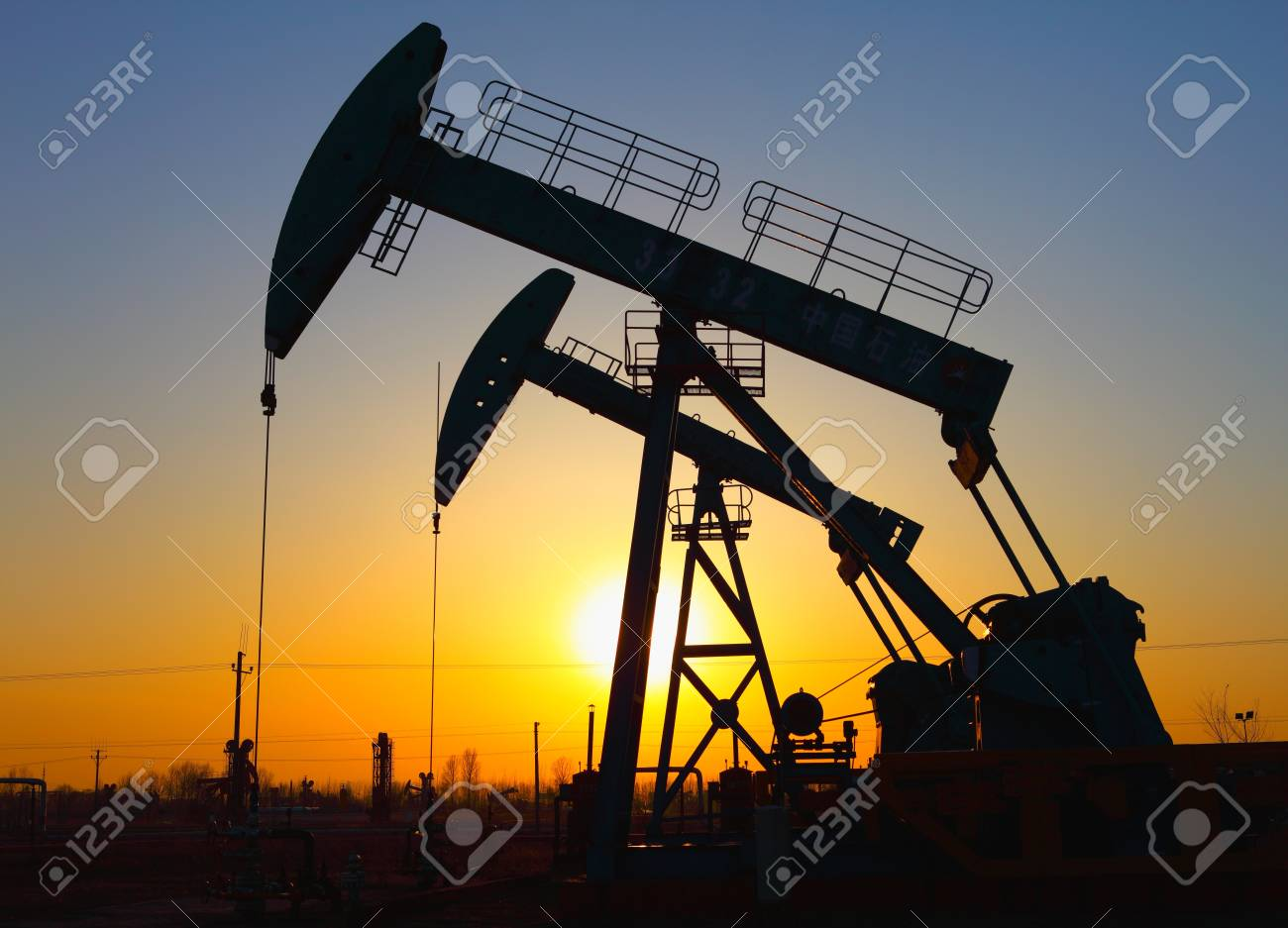 Oil pumps  Oil industry equipment Stock Photo - 17140130